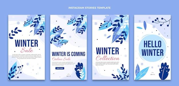 Collection d'histoires instagram d'hiver plat