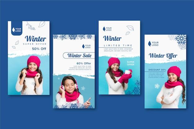 Collection d'histoires instagram d'hiver