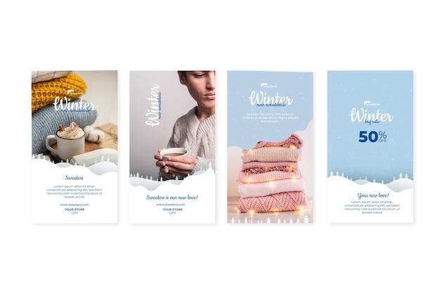 Collection D'histoires Instagram D'hiver Vecteur gratuit