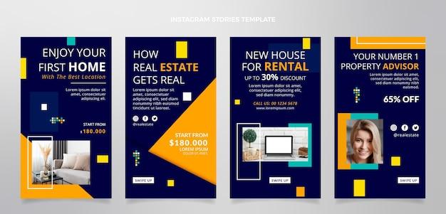 Collection d'histoires instagram de l'immobilier géométrique abstrait plat