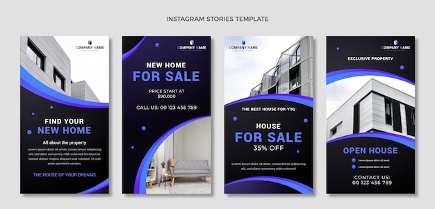 Collection d'histoires instagram immobilières dégradées