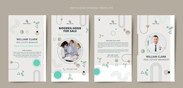Collection d'histoires instagram immobilières design plat