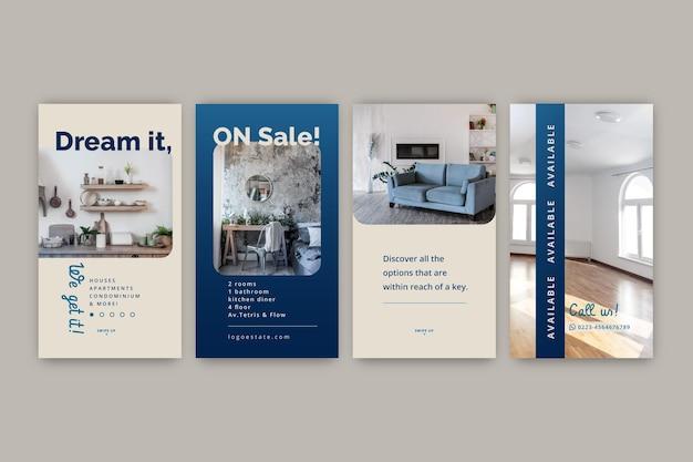 Collection d'histoires instagram immobilières
