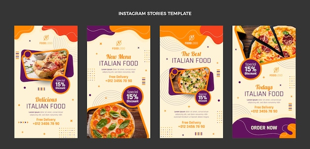 Collection d'histoires instagram italiennes plates