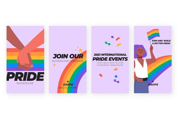 Collection d'histoires instagram de jour de fierté dessinés à la main