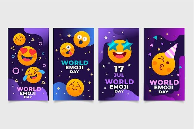 Collection d'histoires instagram de jour plat monde emoji