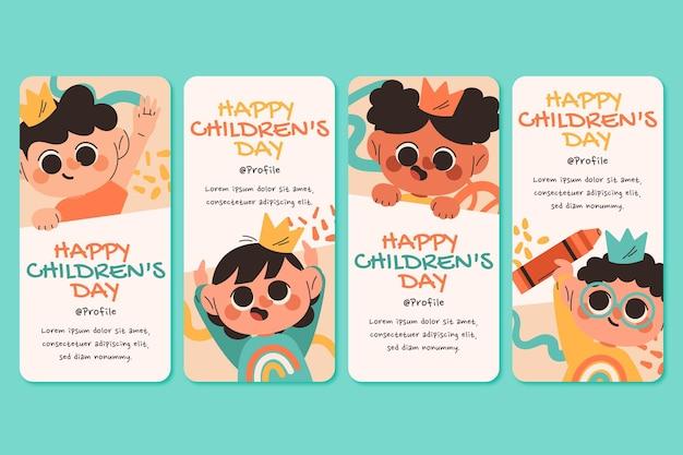 Collection d'histoires instagram de la journée des enfants du monde plat dessinés à la main