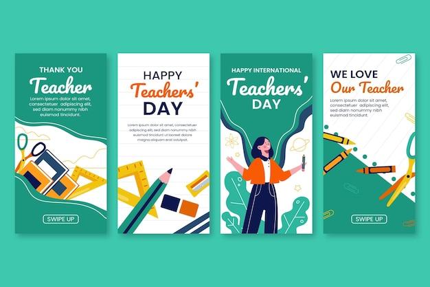 Collection d'histoires instagram de la journée des enseignants à plat dessinés à la main