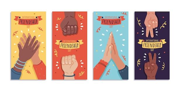 Collection d'histoires instagram de la journée internationale de l'amitié dessinée à la main