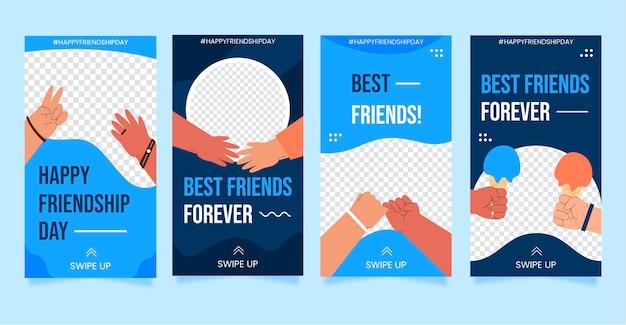 Collection d'histoires instagram de la journée internationale de l'amitié plate