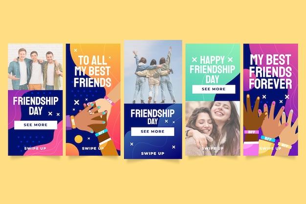 Collection D'histoires Instagram De La Journée Internationale De L'amitié Plate Vecteur gratuit