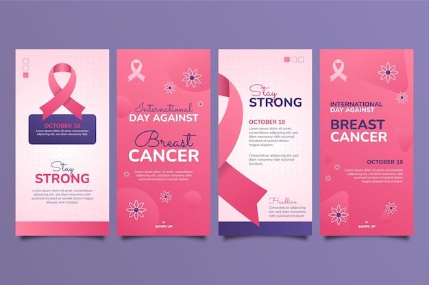 Collection d'histoires instagram de la journée internationale du gradient contre le cancer du sein