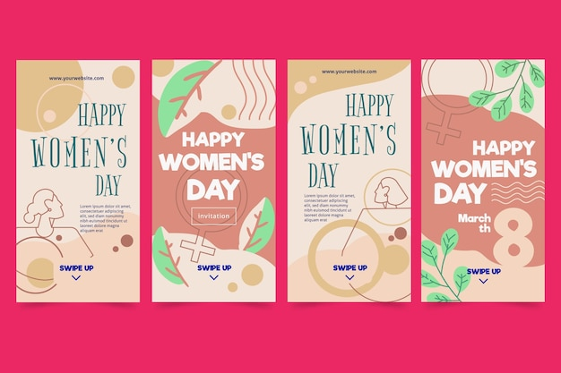 Collection d'histoires instagram de la journée internationale de la femme
