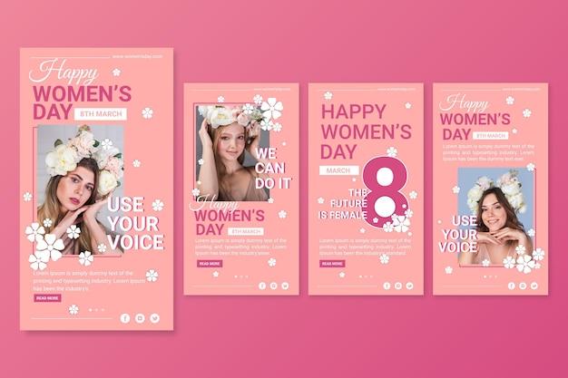 Collection d'histoires instagram de la journée internationale des femmes plates