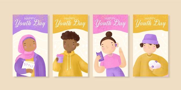 Collection d'histoires instagram de la journée internationale de la jeunesse à l'aquarelle peinte à la main