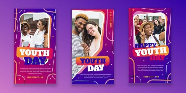 Collection d'histoires instagram de la journée internationale de la jeunesse avec photo