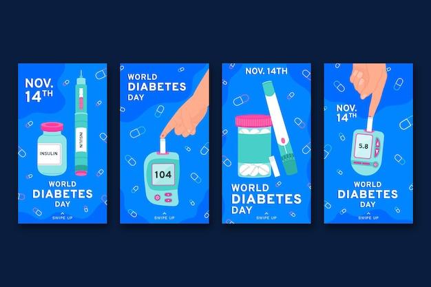 Collection d'histoires instagram de la journée mondiale du diabète dessinée à la main