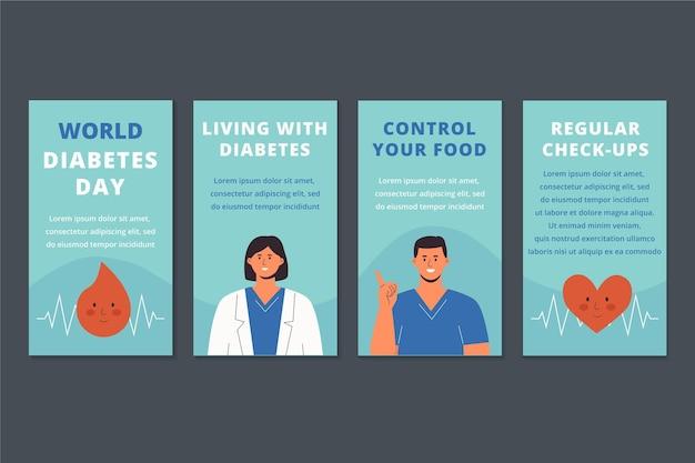 Collection d'histoires instagram de la journée mondiale du diabète