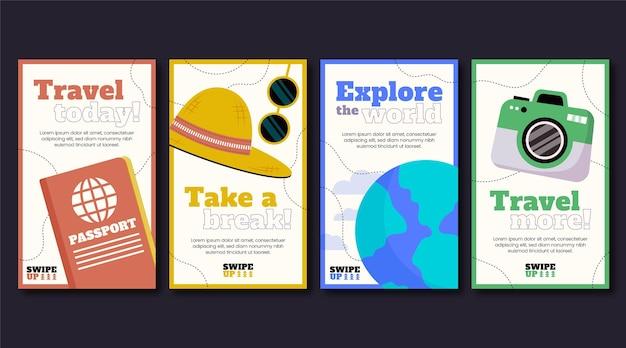Collection d'histoires instagram de la journée mondiale du tourisme