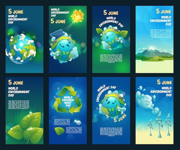 Collection d'histoires instagram de la journée mondiale de l'environnement de dessin animé