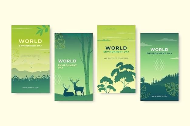 Collection d'histoires instagram de la journée mondiale de l'environnement dessinés à la main