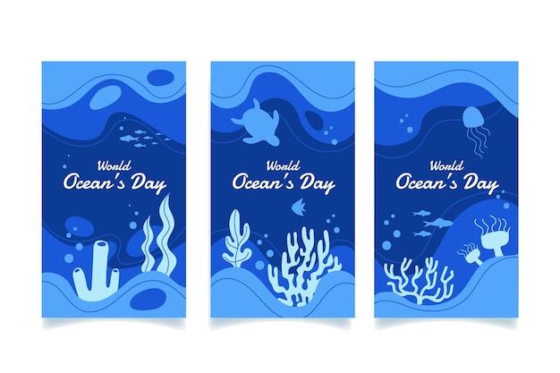 Collection d'histoires instagram de la journée mondiale des océans dessinés à la main