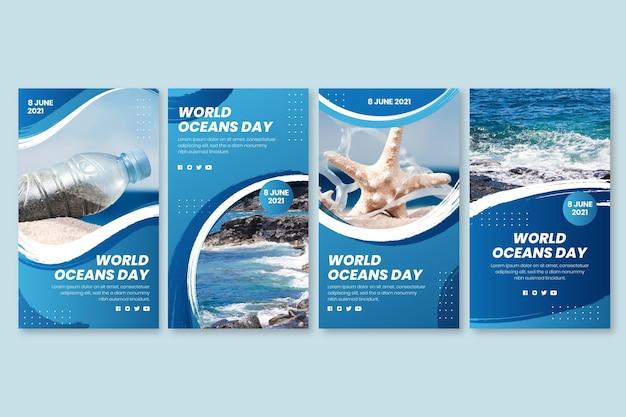Collection d'histoires instagram de la journée mondiale des océans