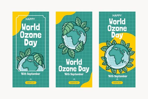 Collection d'histoires instagram de la journée mondiale de l'ozone dessinée à la main
