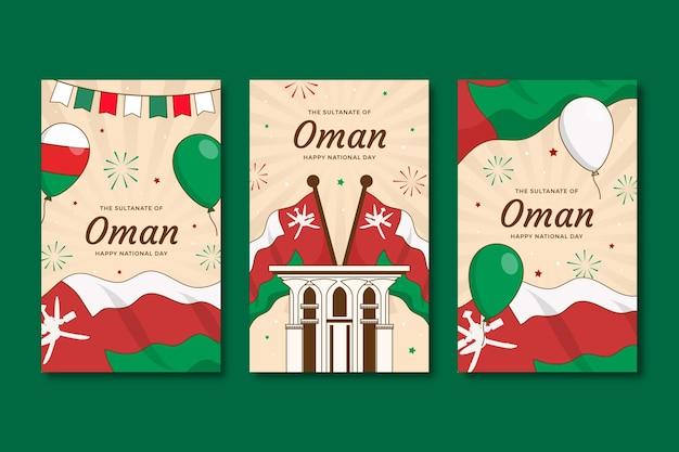 Collection d'histoires instagram de la journée nationale d'oman dessinée à la main