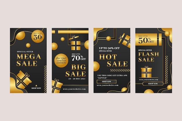Collection d'histoires instagram de luxe dorées réalistes