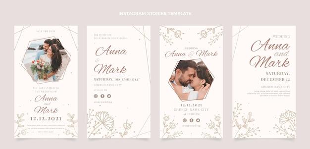 Collection d'histoires instagram de mariage dessinées à la main