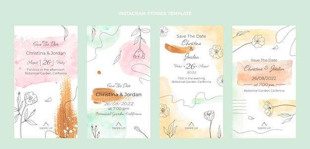 Collection d'histoires instagram de mariage dessinés à la main à l'aquarelle