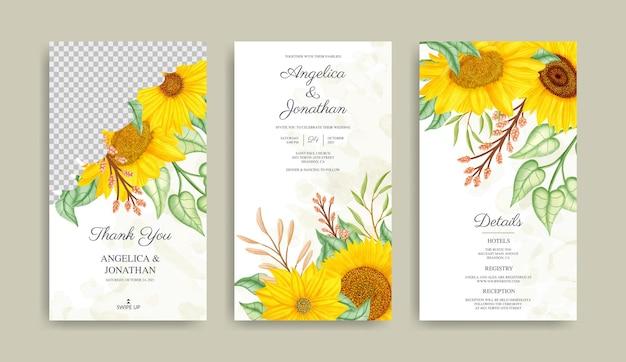 Collection d'histoires instagram de mariage de tournesol d'été