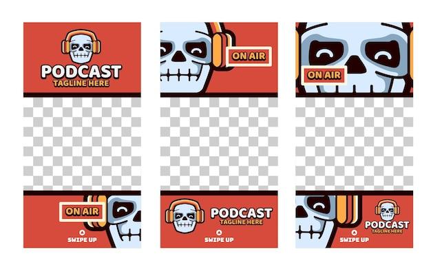 Collection d'histoires instagram de médias sociaux de podcast de crâne