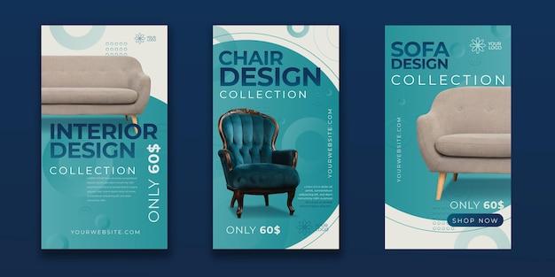 Collection d'histoires instagram de meubles