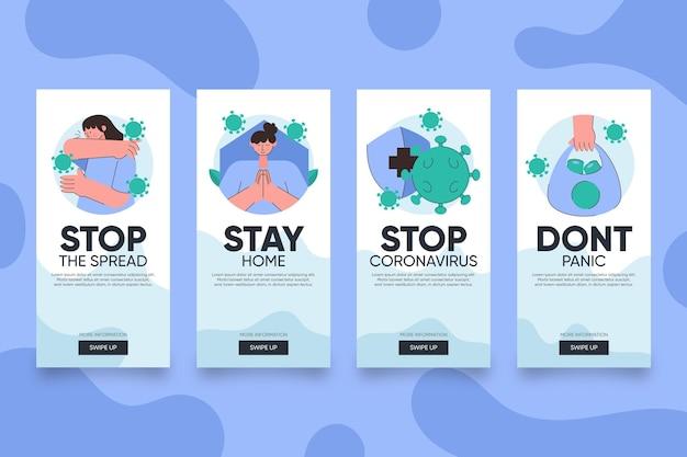 Collection d'histoires instagram minimalistes sur le coronavirus
