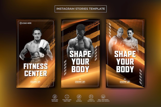 Collection D'histoires Instagram Et Modèle De Bannière Web Pour La Formation En Salle De Fitness Vecteur Premium Vecteur Premium
