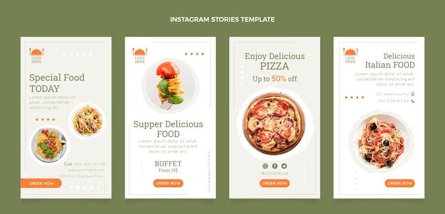 Collection d'histoires instagram de nourriture plate