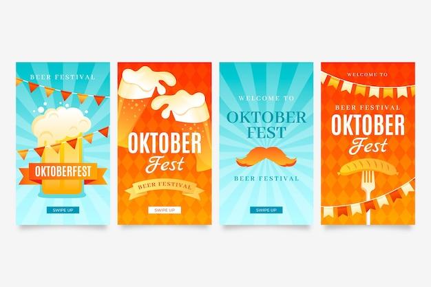 Collection d'histoires instagram oktoberfest dégradé