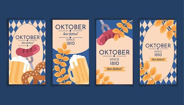 Collection d'histoires instagram d'oktoberfest plat
