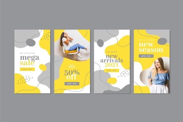 Collection d'histoires instagram organiques jaunes et grises