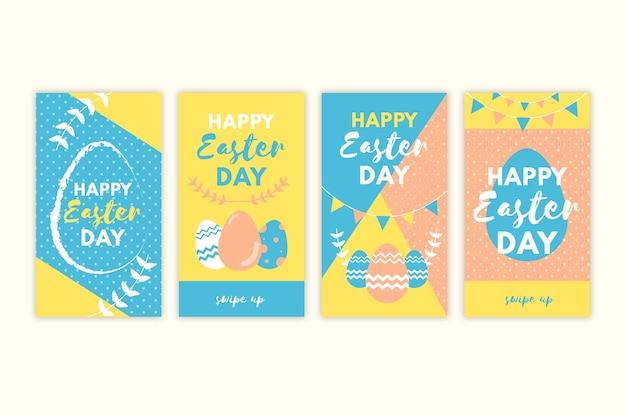 Collection d'histoires instagram de pâques conception d'oeufs en pointillés