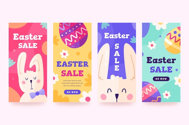 Collection d'histoires instagram de pâques dessinées à la main