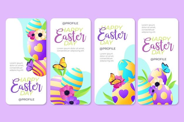 Collection d'histoires instagram de pâques avec des oeufs colorés
