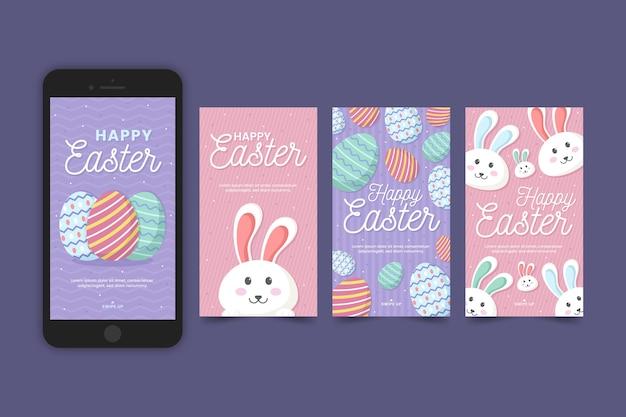 Collection d'histoires instagram de pâques et téléphone mobile