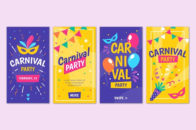 Collection d'histoires instagram party carnaval