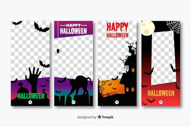 Collection d'histoires d'instagram de personnages de halloween