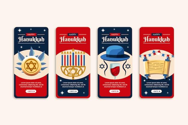 Collection d'histoires instagram à plat de hanukkah