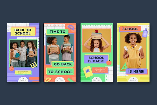 Collection d'histoires instagram à plat de retour à l'école avec photo