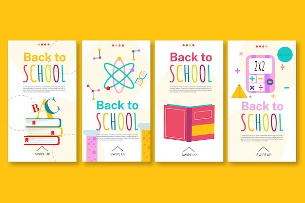 Collection d'histoires instagram à plat de retour à l'école